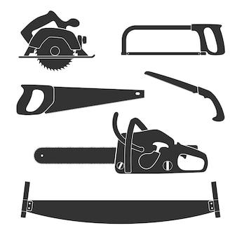 Drwal i narzędzia do obróbki drewna na białym tle