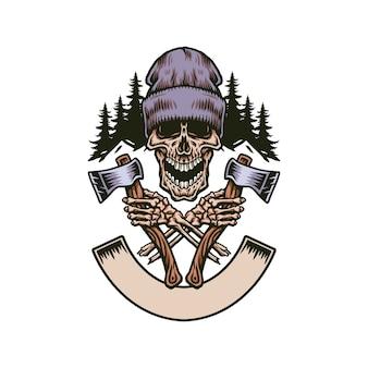 Drwal krzyczała czaszkę z dwiema osiami, ręcznie rysowana linia z cyfrowym kolorem, ilustracja