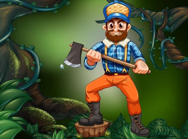 Drwal rąbanie drewna w lesie