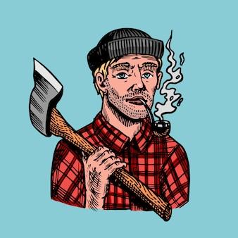 Drwal z siekierą w czerwonej koszuli. feller lub drwal z fajką. ręcznie rysowane vintage retro logger szkic postaci