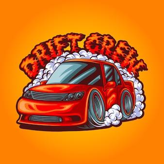 Dryfujący samochód w stylu cartoon