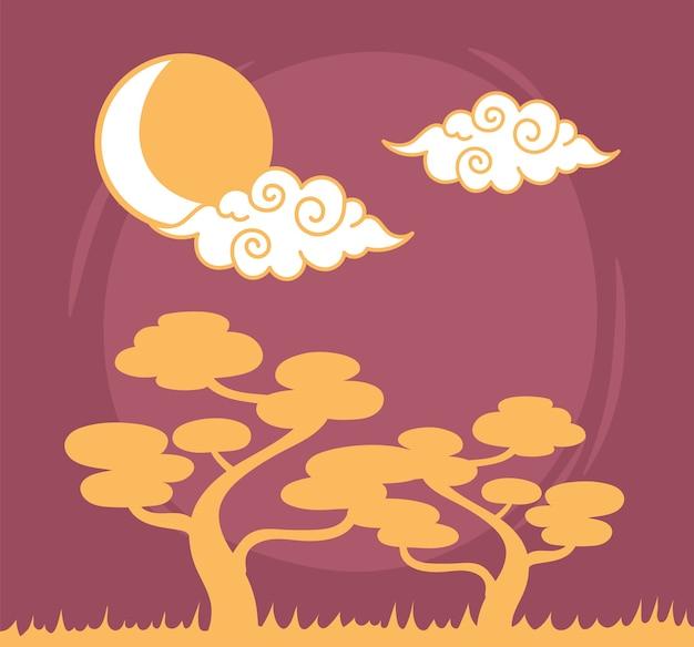 Drzewa bonsai kręcone chmury słońce niebo orientalny element dekoracji ilustracja projekt linii