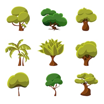 Drzewa cartoon zestaw ilustracji wektorowych