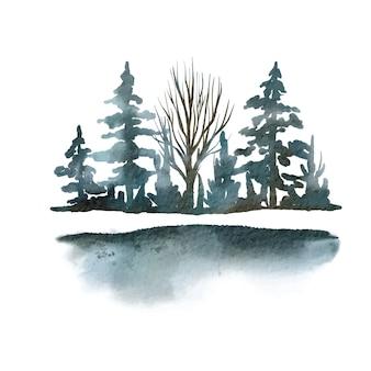 Drzewa i krzewy, elementy sceny, niebieskawy las, ilustracja akwarela