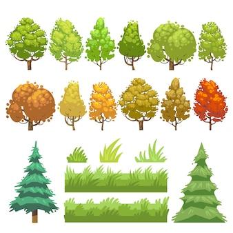 Drzewa i trawa płaskie wektorowe ikony ustawiać