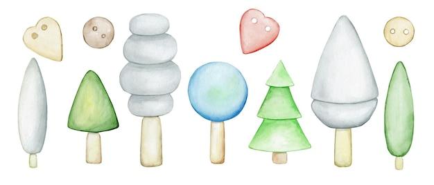 Drzewa, jodły, stylizowane. skandynawski wystrój, do dekoracji, karty. drewniane, kolorowe zabawki.