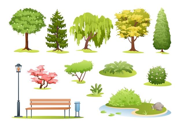 Drzewa leśne i parkowe. rysowane drzewa, krzewy z kwiatami, paproć i park