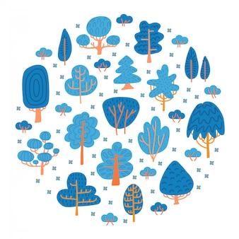 Drzewa mówiące lub zimowe. skandynawskie drzewa w płaskim stylu. dziecinny las. kolor doodle styl dekoracji w kolorach niebieskim i pomarańczowym.
