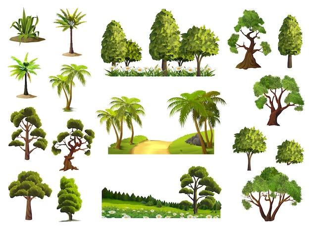Drzewa, natura, las, zestaw ikon