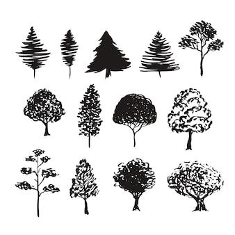 Drzewa sylwetka wektor dekoracji. ręcznie rysowane szkice na białym tle zestaw
