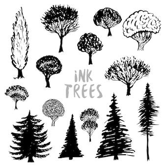 Drzewa sylwetka wektor. inked ręcznie rysowane zestaw na białym tle