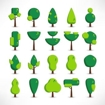 Drzewa z cieniami duży zestaw w stylu mieszkanie na białym tle. logo zielonego drzewa. proste ikony roślin. ilustracja. użyj do ikon, projektów przyrody, map, krajobrazów, stron internetowych, aplikacji