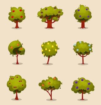 Drzewa z elementem owoców i kwiatów