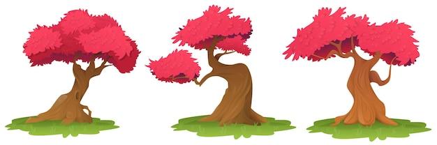 Drzewa z różowymi liśćmi na białym tle