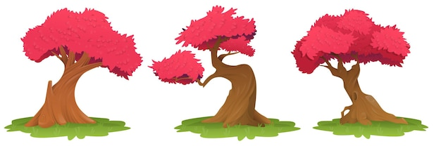 Drzewa z różowymi liśćmi, wizerunek drzew na trawie z czerwonymi liśćmi. piękne różowe liście drzewa, sakura, wiśniowe drzewo. ilustracja wektorowa