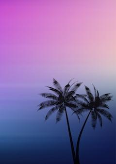 Drzewka palmowe na gradientowym tle