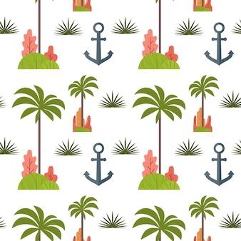 Drzewko palmowe i kotwica bezszwowy wzór