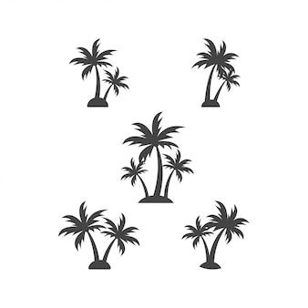 Drzewko palmowe sylwetki projekta elementu szablonu wektoru graficzna ilustracja
