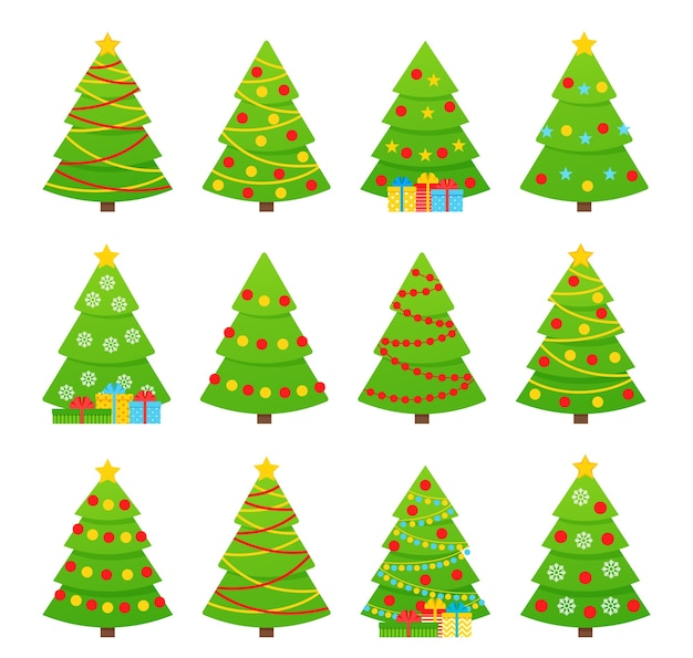 Drzewko świąteczne. . ikona drzewa w płaska konstrukcja. boże narodzenie tło kreskówka. ustaw wesołe jodły świerkowe. zimowe ilustracja na białym tle. komputerowy gragizm. kolekcja sosny z girlandą, gwiazdą, kulkami.