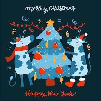 Drzewko świąteczne. ręcznie rysowane w stylu płaskiej kreskówki