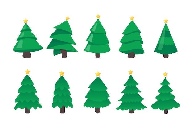 Drzewko świąteczne. zielona sosna ozdobiona gwiazdami na ozdoby świąteczne.