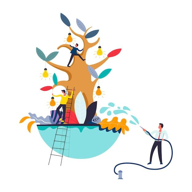 Drzewo biznesu i ludzie zbierający pomysły na żarówki