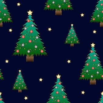 Drzewo christmask z gwiazdą na ciemnym niebieskim tle