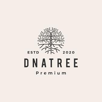 Drzewo dna dach vintage logo ikona ilustracja