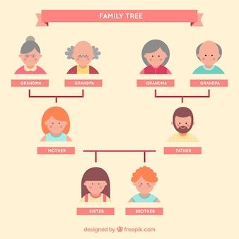 Drzewo genealogiczne się w płaskiej konstrukcji
