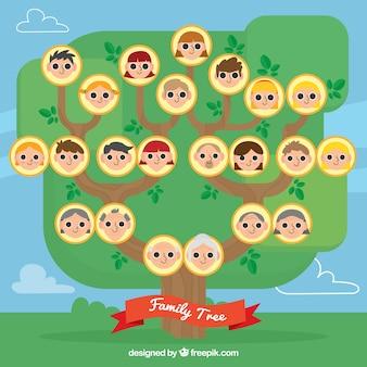 Drzewo genealogiczne z członkami w płaskiej konstrukcji