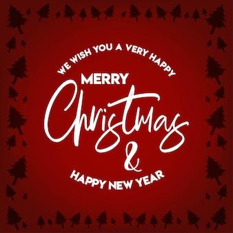Drzewo granicy boże narodzenie i szczęśliwego nowego roku 2019