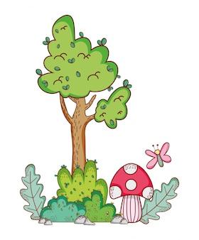 Drzewo grzyb kreskówka motyl gałąź