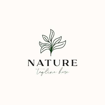Drzewo herbaciane monoline vintage hipster logo szablon na białym tle na białym tle
