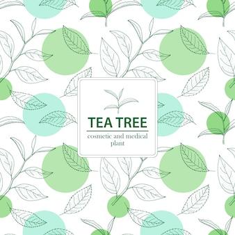 Drzewo herbaciane. wektor ręcznie rysowane vintage wzór bez szwu