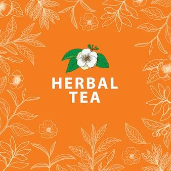 Drzewo herbaciane. wektor ręcznie rysowane ziołowe tło