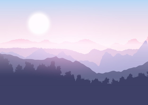 Drzewo i górski krajobraz