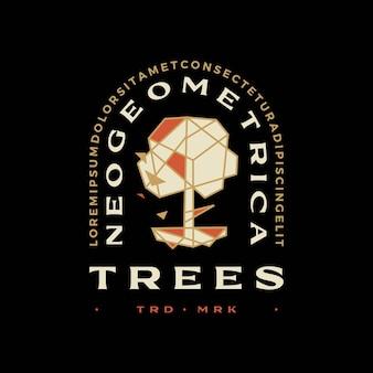 Drzewo i korzeń geometryczny t shirt odznaka vintage godło tee merch logo wektor ikona ilustracja