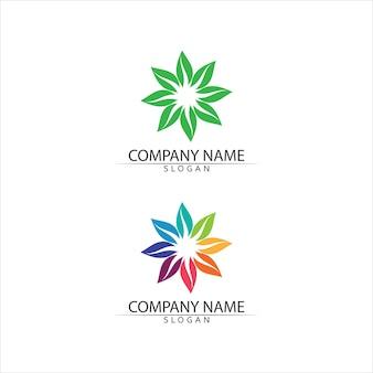 Drzewo liści i przyjazna koncepcja zielone logo