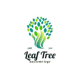 Drzewo liścia kolorowe logo vintage gradient ilustracja