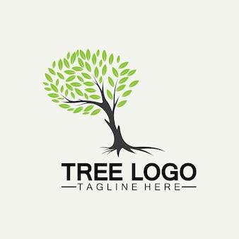 Drzewo logo ikona wektor ilustracja projektu. sylwetka wektor drzewa szablony logo drzewa i korzeni drzewa ilustracji projektu życia