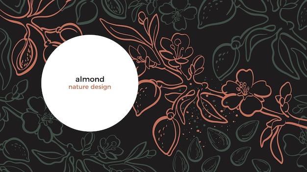 Drzewo migdałowe botaniczny gałąź orzech liść kwiat kwiatowy ręcznie rysowane ilustracja