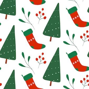Drzewo nowy rok, obsady, jagody, jemioła wzór. wektor płaskie boże narodzenie powtórzyć wydruku. zimowe wakacje projekt na białym tle.