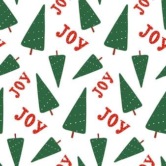 Drzewo nowy rok, wzór radości. wektor płaskie boże narodzenie powtórzyć wydruku. zimowe wakacje projekt na białym tle.