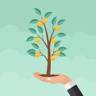 Drzewo pieniędzy, finansowy wzrost płaski koncepcja wektor ilustracja eps10