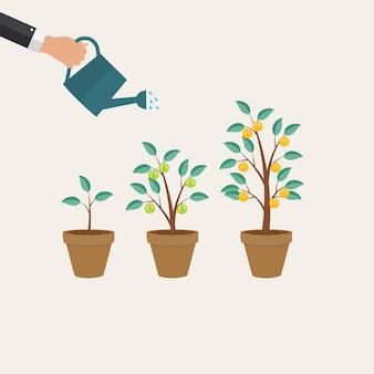 Drzewo pieniędzy, ilustracja wektorowa płaski koncepcja wzrostu finansowego