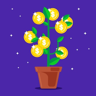 Drzewo pieniędzy z monetami zamiast owoców.