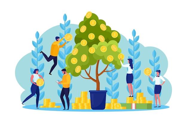 Drzewo pieniędzy ze złotymi monetami i odnoszącym sukcesy biznesmenem