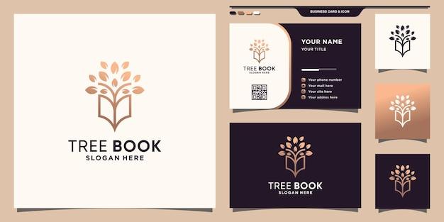 Drzewo połączone logo książki w stylu linii i projektu wizytówki premium wektorów