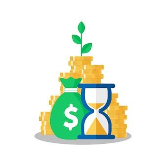 Drzewo rosnące na monety stosu z funduszem wzajemnym, wzrost dochodów, strategia finansowa performa