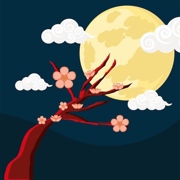 Drzewo sakura z księżycem